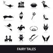 Black simple fairy tales theme icons set eps10 — Stock Vector
