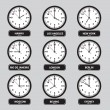 Time zones black and white clock set eps10 — Stock Vector #59544033