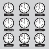 Time zones black and white clock set eps10 — ストックベクタ