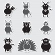 Farm animals simple stickers set eps10 — Stock Vector #60108293