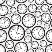 Time zones black and white clock seamless pattern eps10 — ストックベクタ
