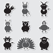 Farm animals simple stickers set eps10 — Stock Vector