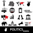 Politics black and red simple icons set eps10 — Stock Vector #60444149