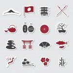 Japanese theme stickers set eps10 — Stock Vector #60444205