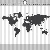 Time zones world map with clock and stripes eps10 — ストックベクタ