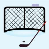 Ice hockey net gate with hockey stick and puck eps10 — Stock Vector