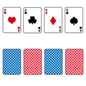 Playing cards set of four ace eps10 — Stock Vector