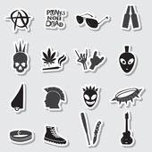 Various black punk stickers set eps10 — Stock Vector