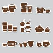 Coffee cups and mugs sizes variations stickers set eps10 — Stock Vector