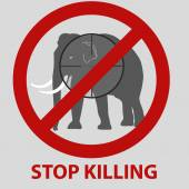 Stop killing animals symbol with elephant eps10 — Stock vektor