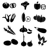 Set of black simple vegetables icons eps10 — Stock Vector