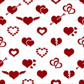 Set of red valentine hearth love symbols seamless pattern eps10 — Vecteur