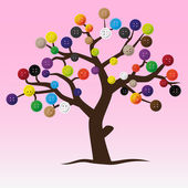 Mystic button tree with color buttons for clothing eps10 — Stock Vector