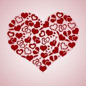 Red valentine hearth love symbols in big hearth shape eps10 — Stock Vector