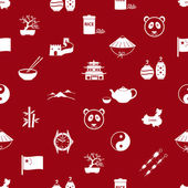 China theme icons white and red seamless pattern eps10 — Stock Vector