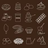 White and brown chocolate outline simple symbols set eps10 — Stock Vector
