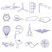 Blue aeronautical and aviation outline icons set eps10 — Stok Vektör