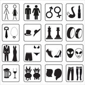 Man and woman public toilets icons eps10 — Stock Vector