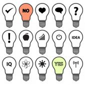Light bulb symbols with various idea icons eps10 — 图库矢量图片