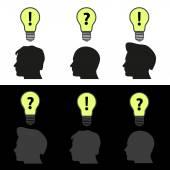 Men heads with light bulb idea symbols eps10 — Stock Vector