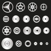 Various silver metal cogwheels parts of watch movement eps10 — Stock Vector