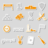 Flawless victory symbols set of color stickers eps10 — Stock Vector