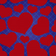 Abstract checkered blue seamless pattern with red love heart eps10 — Stock Vector #65881035