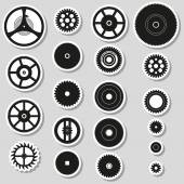 Various cogwheels parts of watch movement stickers eps10 — Stock Vector