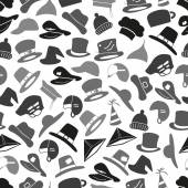 Gray hats icons set seamless pattern eps10 — Vector de stock
