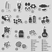 Set of typical food allergens for restaurants stickers eps10 — Stock Vector