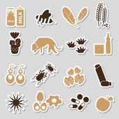 Allergy and allergens color stickers set eps10 — 图库矢量图片