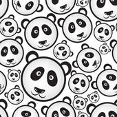 Black and white panda bear head seamless pattern eps10 — Stock Vector