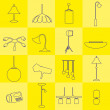 Lighting outline icons set yellow background eps10 — Stock Vector #69367915