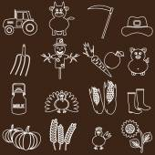 Farm white and brown simple outline icons set eps10 — Stock Vector