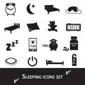 Sleeping time simple black icons set eps10 — Stock Vector