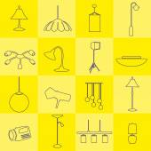 Lighting outline icons set yellow background eps10 — Stock Vector