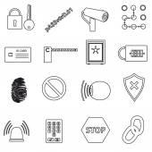Security black simple outline icons set eps10 — Stock Vector