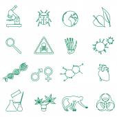 Biology simple green outline icons set eps10 — Stock Vector
