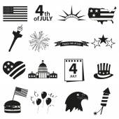 American independence day celebration icons set eps10 — Stock Vector