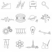 Physics outline simple vector icons set eps10 — Stock Vector