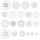 Various outline cogwheels parts of watch movement eps10 — Stock Vector