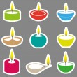 Color diwali candles with flame stickers set eps10 — Stock Vector #72064815