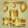 Happy birthday gold theme with gifts and balloons eps10 — Stock Vector #72064909