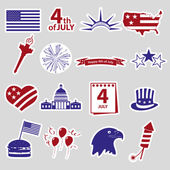 American independence day celebration stickes set eps10 — Stock Vector