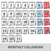 Monthly wall calendars with days icons set eps10 — Stock Vector