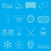 Ice hockey sport outline icons set eps10 — Stock Vector