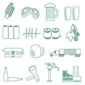 Beer drink and pub simple outline icons eps10 — Stock Vector