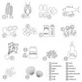 Outline set of typical food alergens for restaurants eps10 — Stock Vector