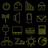 Computer and laptop indication outline icons eps10 — Stock Vector