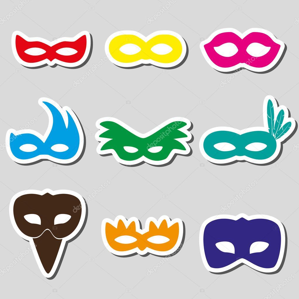 Adesivo De Parede Harry Potter ~ Carnaval rio adesivos máscaras simplesícones de cores definido eps10 u2014 Vetor de Stock